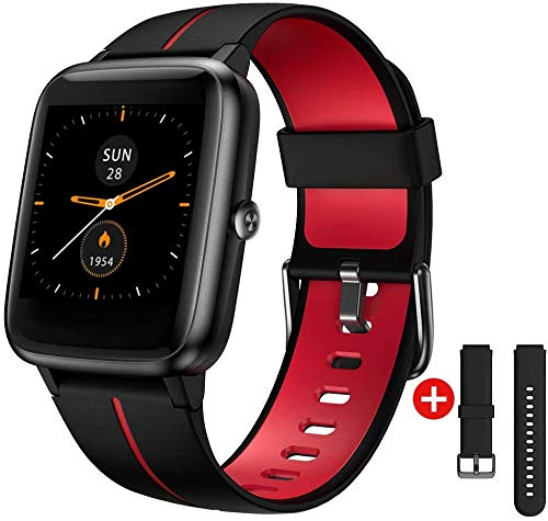 """Smart Watch GPS for Men Women,1.3"""" Full Touch Screen Fitness Trackers with Heart Rate/Sleep Monitor,5ATM Waterproof Pedometer Stopwatch Weather Smartwatches for Android iOS iPhone (Black & red)"""