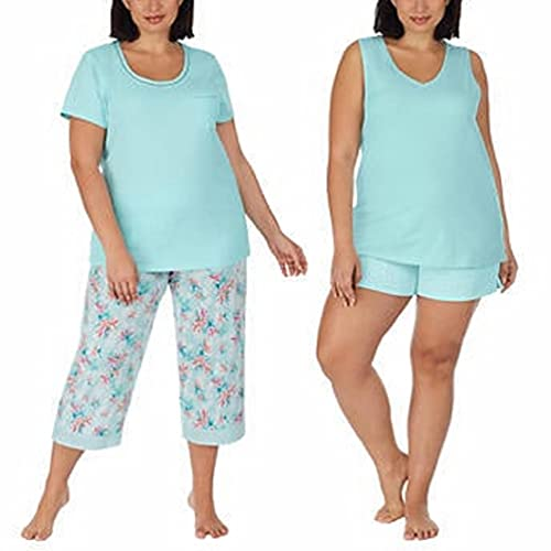 Carole Hochman Ladies' 4-piece Cotton Pajama Set Short Sleeve Top, Tank Top, Short, and Capri Pant with pocket, Solid and Floral Sleepwear for women (Small, Light Blue)