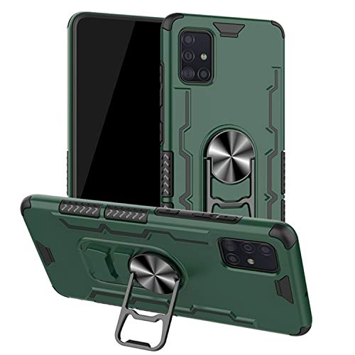 FMPCUON Cover Compatibile con Samsung Galaxy A71, 360° Regolabile Anello Magnetica Supporto Ring [Cavatappi Case] TPU+PC Protezione a Doppio Strato Armor Protettiva Custodia, Verde