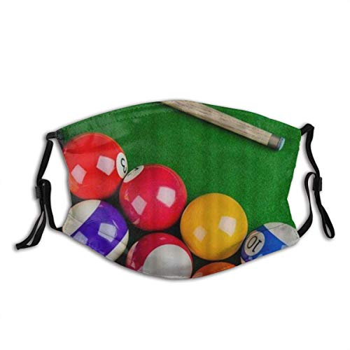 Gesichtsschal Billardkugeln mit Billard Queue Snooker Pool Spiel Design Sturmhaube Unisex Wiederverwendbar Winddicht Anti-Staub Mund Bandanas Outdoor Camping Motorrad Running Neck Gamasche