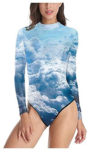 Traje De Baño De Playa De Una Pieza De Manga Larga para Mujer Traje De Neopreno con Protección Solar UV Sky Printing Rash Guard Traje De Baño con Cremallera (Color : Blue, Size : L)