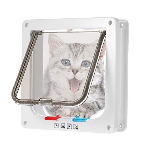 Rysmliuhan Shop Gatera para Puerta Gateras para Gatos Accesorios de Gato para Mascotas Gato Puerta de la Puerta Perro Aleta de Puerta Inteligente Cat Flap White,l