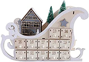 Christmas Decorations,Christmas Gifts,Holiday Calendars,Xmas Decoration,Tree House Sleigh Wooden Advent Calendar Countdown Christmas Party Decor 24 Drawers with LED Light Ornament for Adults Kids