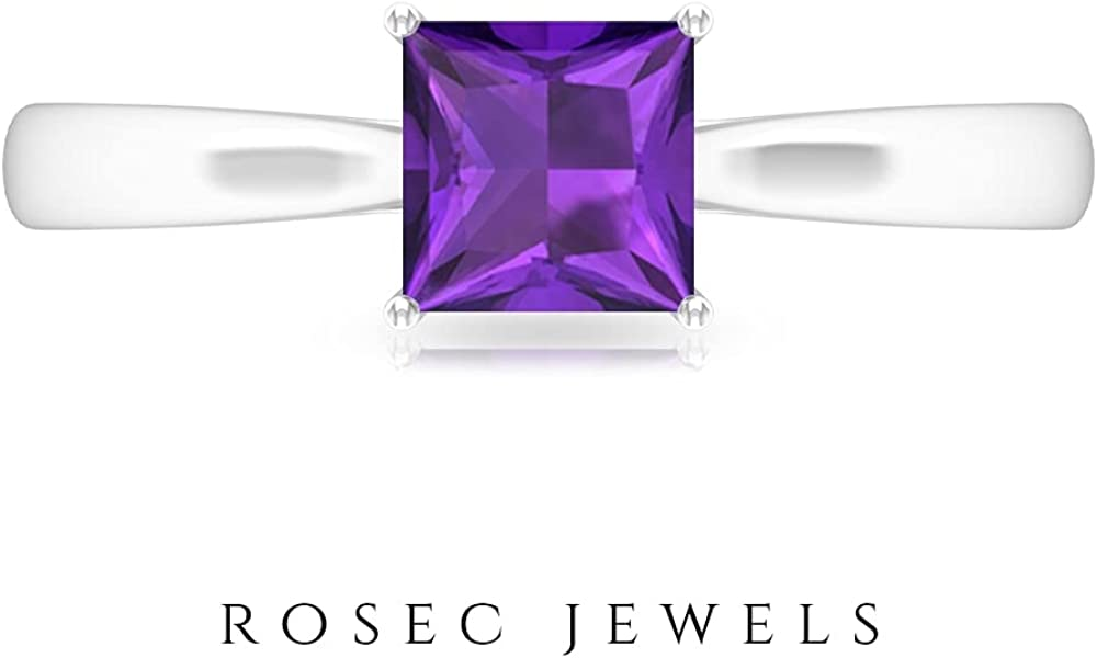 5.50 MM Princess Cut Amethyst Solitaire Ring, D-VSSI Moissanite Gold Ring, Solitaire Engagement Ring, 14K White Gold, Size:US 10.5