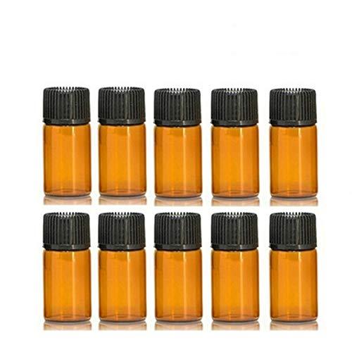 WZCXYX Botella De Vidrio ámbar De 10 Piezas con Tapa De Plástico, Frascos De Vidrio De Aceite Esencial, Botella De Prueba De Muestra De Perfume(Size:3ml)
