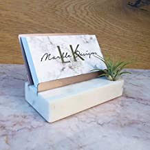 Rose Gold Marble Office Desk Decor for Women Business Card Holder with Air Plant