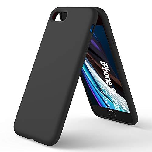 ORNARTO Custodia in Silicone Liquido per iPhone SE(2020), iPhone 7/8 Protezione Completa Cover Sottile in Silicone Liquido in Gomma Gel Morbida per iPhone 7/8/ SE(2020) 4,7 Pollici-Nero