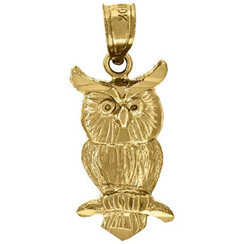 10k Geel Goud Womens Getextureerde Uil Vogel Charm Hanger - Maatregelen 21.5x9.00mm Breed - Hogere Gouden Grade Dan 9ct Goud