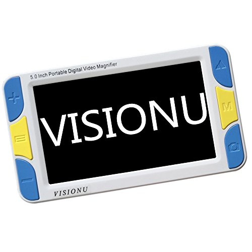 VISIONU Low Vision Digitale Elektronische Leselupe,Mobile Lesehilfe mit 5 Zoll LCD-Monitor