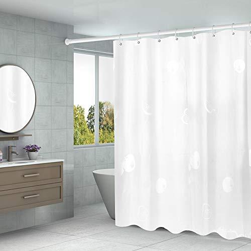 Duschvorhang 180 x 200 Transparent,PEVA Wasserdicht, Halb-transparent Klar, Anti Schimmel, PVC-frei Umweltfre&lich Waschbar mit 12 Ringe (Apfel)