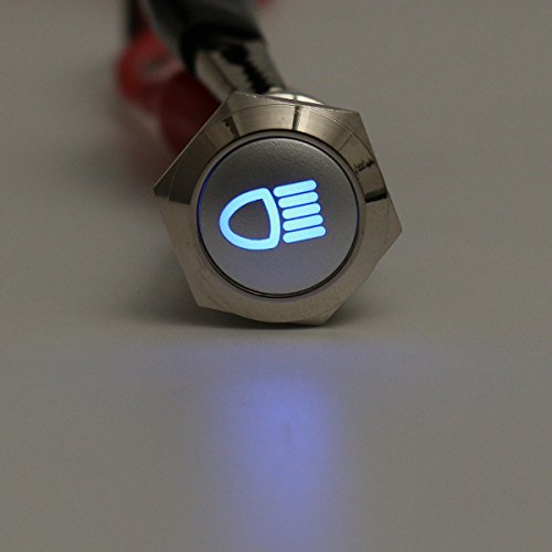 Alamor 12V 19Mm Metal Plateado Led Botón Encendido Apagado Interruptor Luz Símbolo-Azul