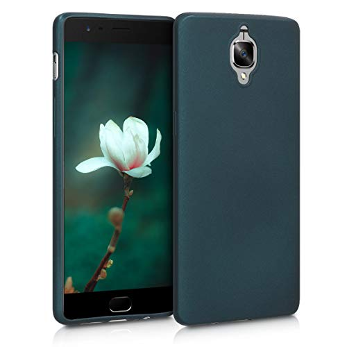 kwmobile TPU Silicone Case for OnePlus 3 / 3T - Soft Flexible Shock Absorbent Protective Phone Cover - Metallic Teal
