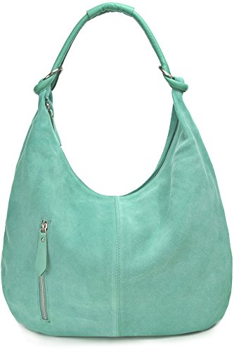 Damen Schultertasche Leder, Hobo-Bag, Leder Handtasche Damen, CNTMP, Beuteltasche Wildleder, Leder-Tasche DIN-A4, 44x36x4cm (B x H x T) (Smaragd)