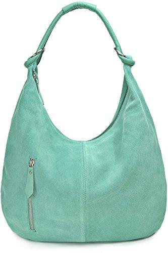 CNTMP Damen Schultertasche Leder, Hobo-Bag, Leder Handtasche Damen, Beuteltasche Wildleder, Leder-Tasche DIN-A4, 44x36x4cm (B x H x T) (Smaragd)