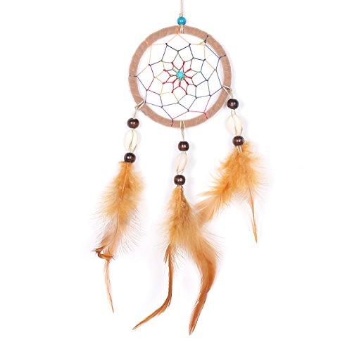 Atrapasueños para sueños buenos con perlas y plumas naturales beis Ø 9 cm