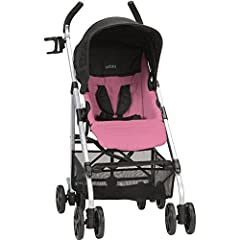 Stroller is designed for a child up to 50 lbs  1-hand comfort tilt recline 5-point harness with covers  Extra-large canopy with extensions Parent cup holder  Reversible stroller seat: forward or rear facing Accepts Sonti Infant Car Seat (adapters inc...