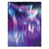 Manerly Throw Blanket for Bed Couch Sofa, Magic Colorful Starry Sky with Howling Wolf Spirit and Aurora Borealis, Lightweight Super Soft Warm Blanket for Kids Adults (60 x 80 Inches)