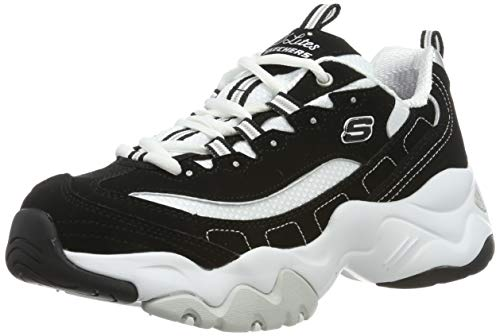 Skechers Women's D'LITES 3.0-STRIDE AHEAD Low-Top Sneakers, Black (Black Leather/White Mesh/Silver Trim Bkw), 6 UK 39 EU