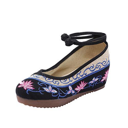 Liveinu Zapatos de Mujer con Cuña Cordón Sandalias Bordados Retro Mary Janes Lona Zapatos Comodos Fiesta...