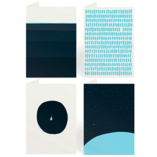 4er Set Trauerkarten mit Umschlag, moderne Beileidskarten, hochwertige Kondolenzkarten Blau - stilvolle Anteilnahme (71.6 BLAU)
