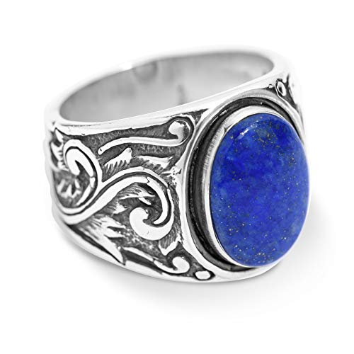 American West Sterling Silver Blue Lapis Gemstone Scroll Leaf Wide Ring Size 9