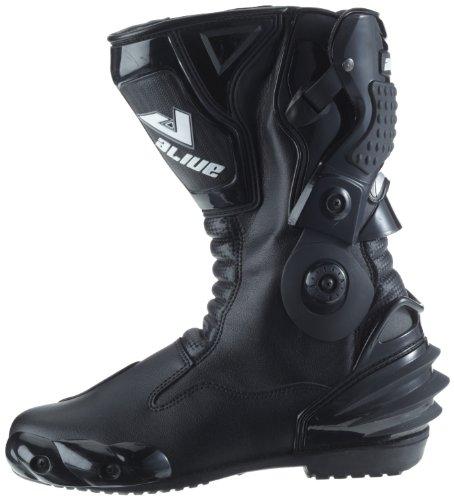 Protectwear TS-006-43 Motorradstiefel Racing aliue, Wasserabweisend aus schwarzem Leder mit aufgesetzten Hartschalenprotektoren, Größe 43, Schwarz - 9