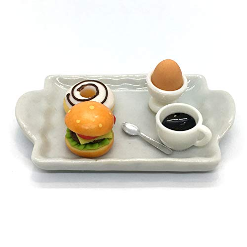 【EDEN】トマト チーズ 入り ハンバーガー コーヒー ドーナツ 玉子 ドール用 ミニチュア[スプーン 陶器トレイ付][分離不可][輸入品][E587D]