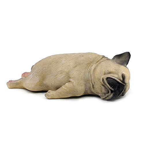 "Comfy Hour Doggyland Collection, Miniature Dog Collectibles 5"" Sleeping Pug Figurine, Realistic Lifelike Animal Statue Home Decoration, Fawn Brown, Polyresin"