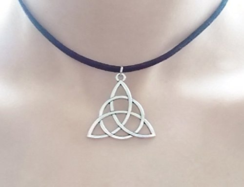 silver triquetra choker celtic jewellery triquetra necklace handmade jewellery pagan jewellery charm necklace christmas gift for her …