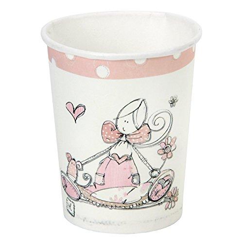 Childrens Party desechables de vajilla, tazas, platos, tazas, sombreros, guirnalda de rosa (8unidades)