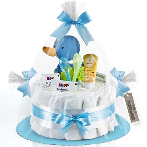 Timfanie® Windeltorte | Ziehente | 1-stöckig | baby-blau | Windeln Gr. 2 (Baby 4-8 Kg)