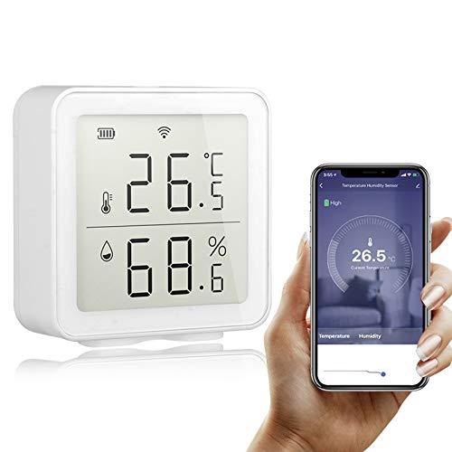Galapare Termómetro Higrómetro, Tuya WiFi Intelligent Home Wireless Temperature Sensor Automation Scene System con Función Almacenamiento Datos y Alerta Compatible with Alexa para Habitación