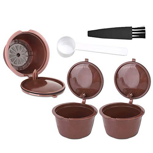 Taza de café reutilizable para cápsulas de café Dolce Gusto rellenable Mini filtro para cafetera universal con cepillo y cuchara (3 cápsulas)