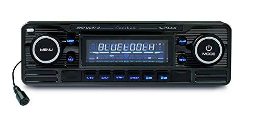 Caliber RMD120BT/B Autoradio Aspect Vintage avec Carte SD Kit Mains Libres Bluetooth (Fente pour Carte SS, connecteur USB) Noir
