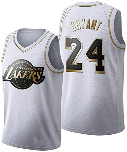 MYXUAA Herren Basketball Jersey Lakers 24# Kobe Bryant Trikots Atmungsaktives Besticktes Basketball Swingman Trikot-White-S