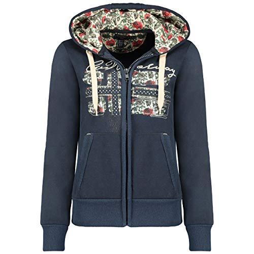 GEO NORWAY FABEAUTE Lady - Frauen Sweatshirt Kapuzen - Casual Pullover Hoody Langarm Warm Zip Verschluss - Basic Hoodie Jacke Tops Sport Bequem Ladies Marine - L