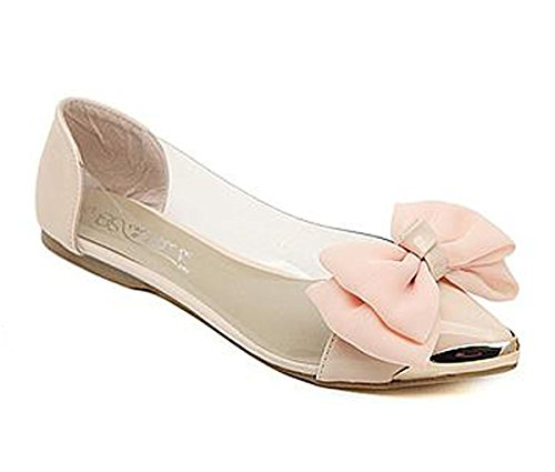 Minetom Damen Mädchen Transparente Folie Schuhe Süßen Stil Spitz Zehe Schuhe Mit Bowknot Rosa 40