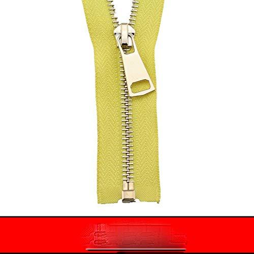 5# 60/70/80/90/100/120/150 cm de bloqueo automático de extremo abierto chapado en oro rosa cremallera de metal uso para ropa de zapatos, bolsillo de la prenda-amarillo, 5#,80 cm