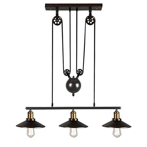 "Industrial Vintage Retro Linear Chandelier Island Light, MKLOT Antique Edison Metal 8.66"" Wide Hanging Ceiling Lighting Pendant Light Billiard/Pool Table Fixture Black Finish with 3 Lights"