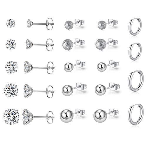 KANOUE 12 Pairs Stud Earrings Set Stainless Steel Cubic Zirconia Hypoallergenic Earrings