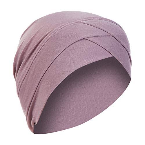 Lazzboy Kopftuch Chemo Cancer Mütze Seide Gefütterte Ethnic Cloth Turban Cap Für Frauen Solid India Hut Muslim Ruffle Beanie Wickelschal(Lila)