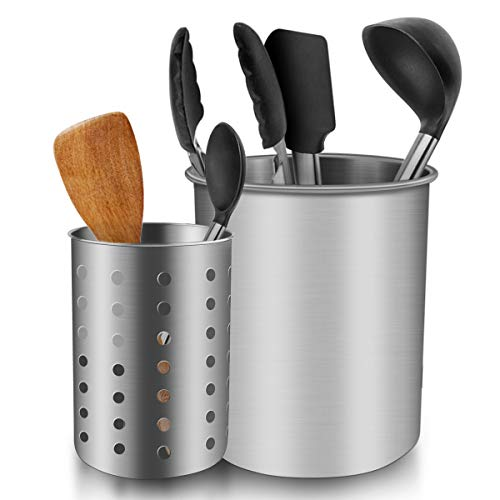 Utensil Holder for Countertop ENLOY Stainless Steel Rust Proof Kitchen Utensils Holder Organizer for Forks Spoons Knives Kitchenware Dishwasher Safe Set of 2