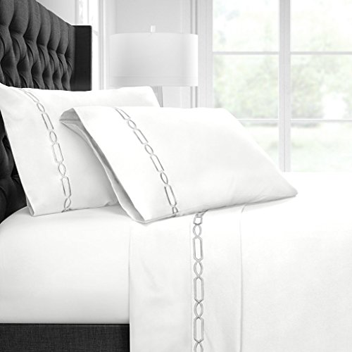Egyptian Luxury Embroidered Bed Sheet Set – Ultra Soft Premium 1500 Series w/Beautiful Fretwork Embroidery – Wrinkle & Fade Resistant, Hypoallergenic 4 Piece Set - King - White/Silver