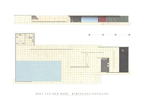 Poster, Motiv: Mies Van der Rohe Barcelona Pavillon, 50 x 70 cm, Weiß, Blau, Grau