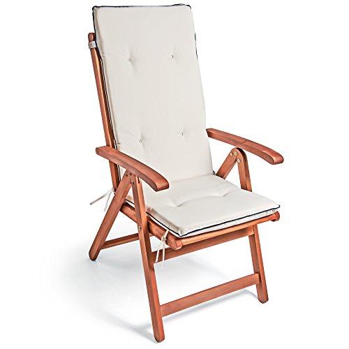 Detex® Stuhlauflage Vanamo 6er Set Wasserabweisend Hochlehner Auflage Sitzauflage Stuhlkissen Polsterauflage Creme