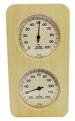 TFA Dostmann Sauna, termómetro, higrómetro de pelo sintético 40.1004, resistente al calor, de madera maciza (instrumentos claros)
