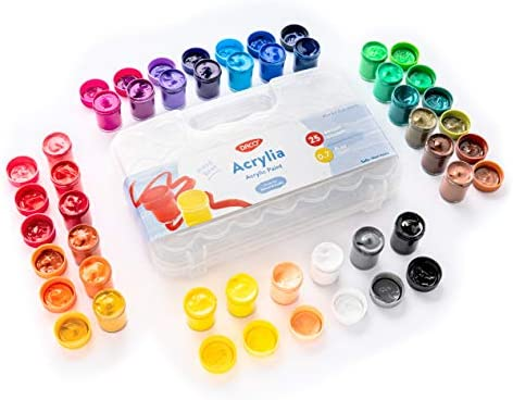 DACO Acrylia Kids Paint Art Set of 25 Colors 0 7 fl oz 20ml Paint Pots with Carry Case Non Toxic product image