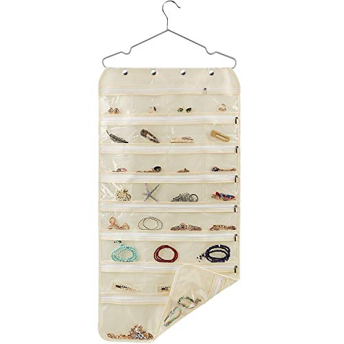 SPIKG 56 Pockets Dual Sided Jewelry Hanging Organizer Oxford Storage Bag with Zipper Hanger (Beige)