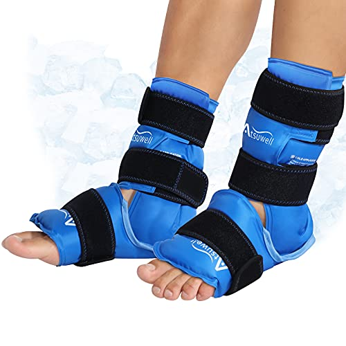Atsuwell Ankle Ice Packs for Injuries Reusable Gel Cold Pack for Foot Pain Relief, Plantar Fasciitis, Post-Surgery Recovery, Sprained Ankles Feet Brace, Heel - 2 Packs