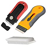 2PCS Mini Blades Razor Scraper Set with Extra 30-Piece Carbon Steel Blades, Glass Cooktop Scraper,Home Cleaning Tool for Scraping Labels, Car Decal, Paint and Stickers